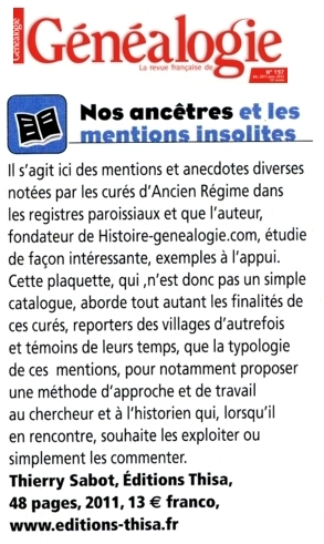 L'avis de la Revue française de généalogie